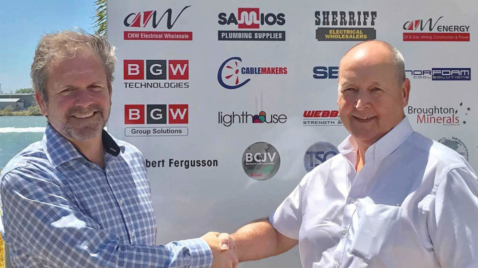BGW's Robert Meachem and Senstar's Graeme Howes shake hands to solidify partnership between the two companies