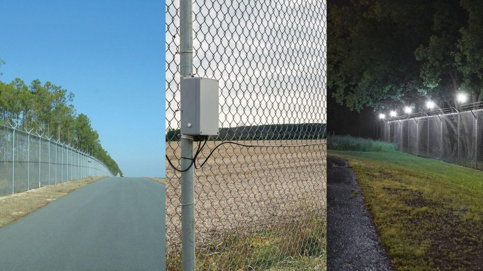 Split image of FlexZone locating fence-mounted intrusion detection sensor, Senstar LM100 hybrid perimeter intrusion detection and intelligent lighting system, and FiberPatrol fiber optic intrusion detection sensor