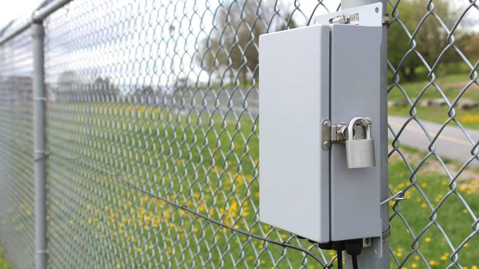 FlexZone perimeter intrusion detection sensor on fence