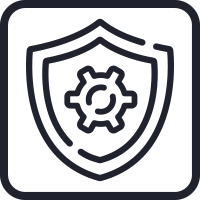 Icon of a cog inside a shield, representing the security management features of Senstar products