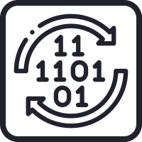 Ikone des Binärcodes eingewickelt in die kreisförmigen Pfeile, die die volldigitale Verarbeitung der Senstar-Software darstellen