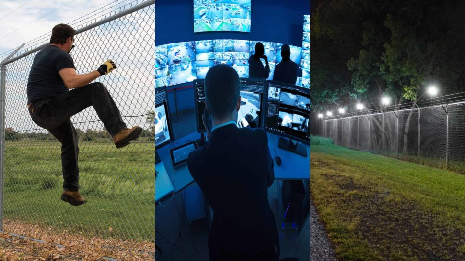 Collage of man climbing fence, control room and intelligent lighting to show a range of Senstar products