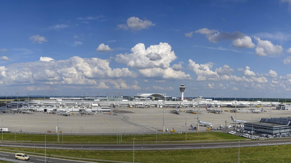 Exterior view of the Munich airport in Bavaria, Germany