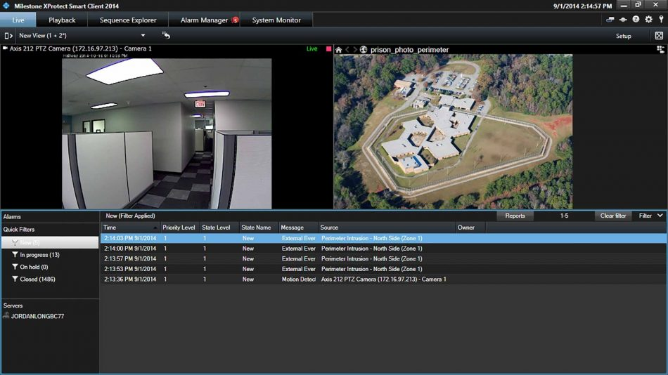 Screen showing integration of Network Manager and Milestone XProtect with two video feeds and alarm information