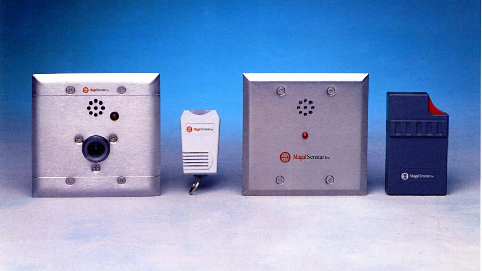 PAS personal alarm system components - belt worn transmitters and wall-mounted receivers