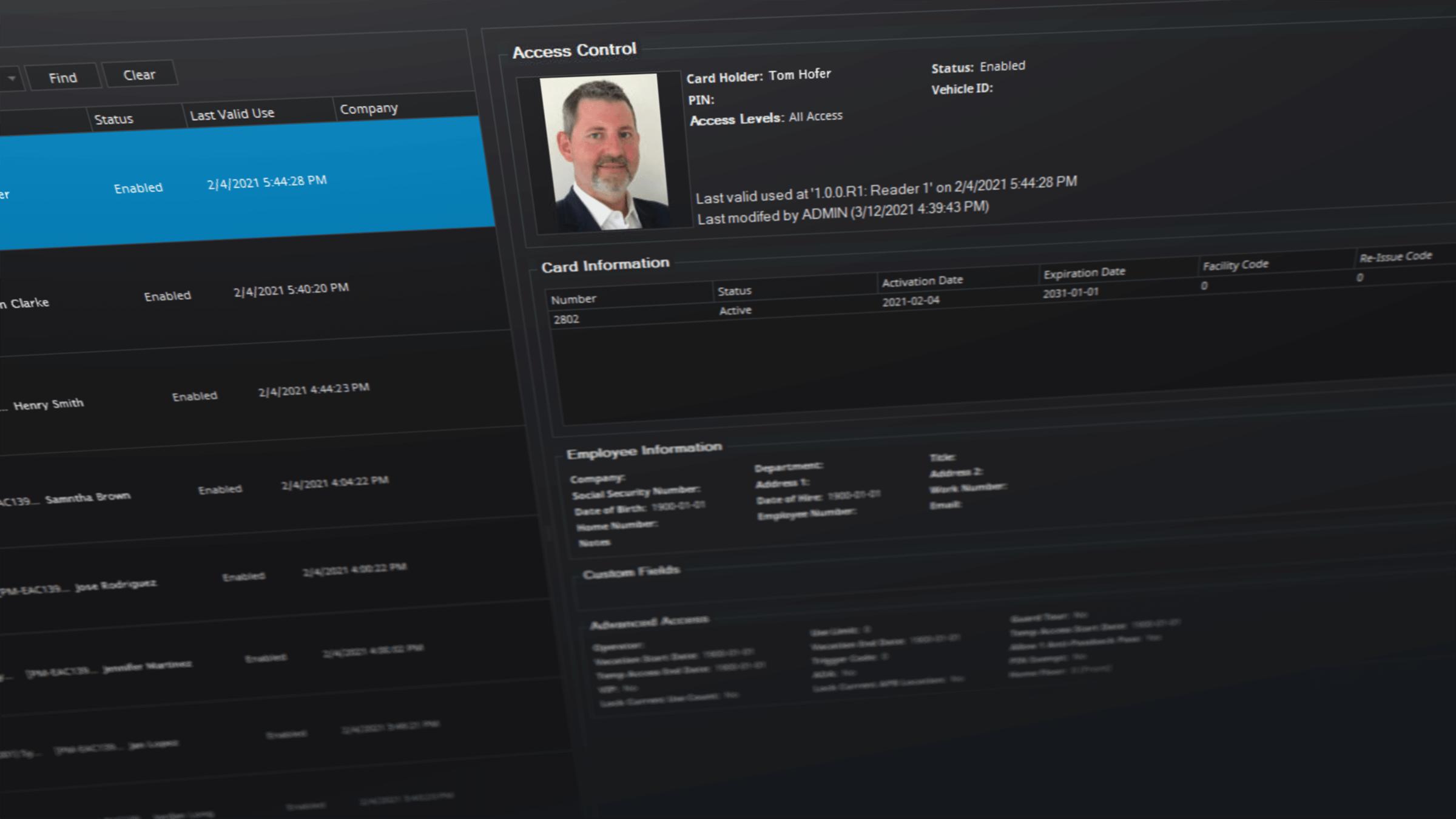 Screenshot of Senstar Symphony access control capabilities